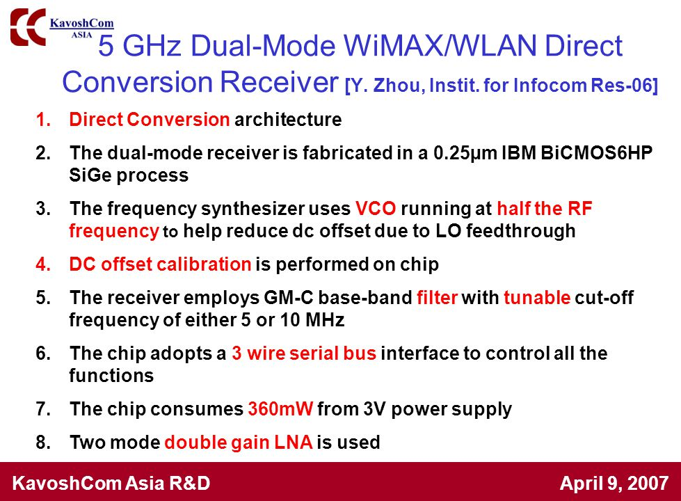 5 GHz Dual-Mode WiMAX/WLAN Direct Conversion Receiver [Y. Zhou, Instit